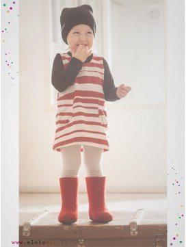 """Robe enfant imprimé """"Stripe"""" rayures rouges"""