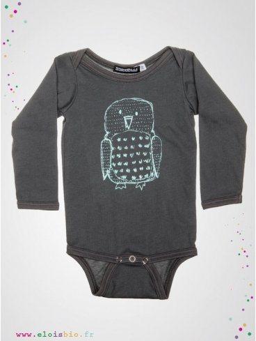 body-enfant-gris-imprime-hibou-coton-bio-aarrekid-eloisbio
