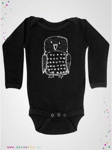 body-enfant-noir-motif-hibou-coton-bio-aarrekid