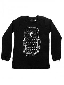 tee-shirt-enfant-noir-imprime-hibou-coton-bio-aarrekid