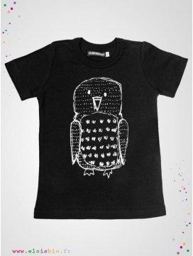 Tee-shirt enfant noir imprimé Hibou manches courtes
