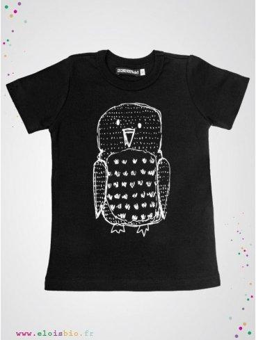 tee-shirt-enfant-noir-imprimé-hibou-coton-bio-aarrekid