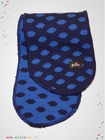 eloisbio-echarpe en laine o¦ê pois marine-bleu bellio