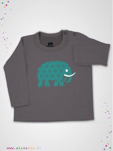 eloisbio-ts440 tee shirt taupe +´+¢l+´+¢phant pop