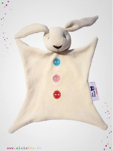 Doudou Lapin Boutons coton bio fabrication française