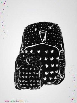 Coussin noir imprimé Hibou coton bio