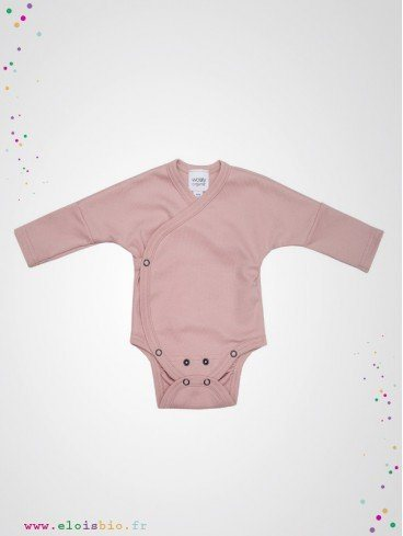 Body kimono naissance manches longues rose coton bio