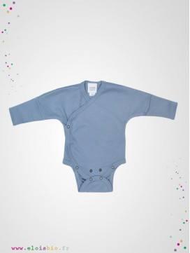 Body kimono naissance manches longues bleu coton bio