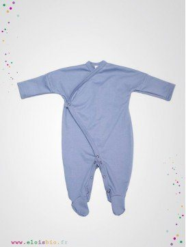 Pyjama kimono bébé bleu coton bio