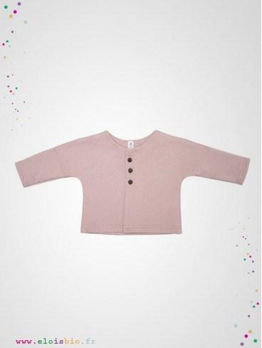 Veste kimono bébé rose coton bio