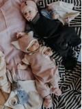 Chaussons naissance bébé bleu coton bio