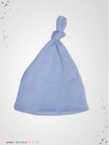 Bonnet noeud bébé bleu coton bio