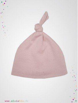 Bonnet noeud bébé rose