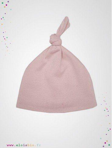 Bonnet noeud bébé rose coton bio