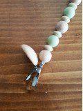 Attache tétine en bois et perles de silicone