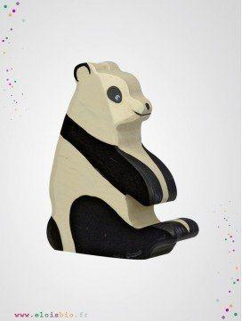 Panda assis en bois