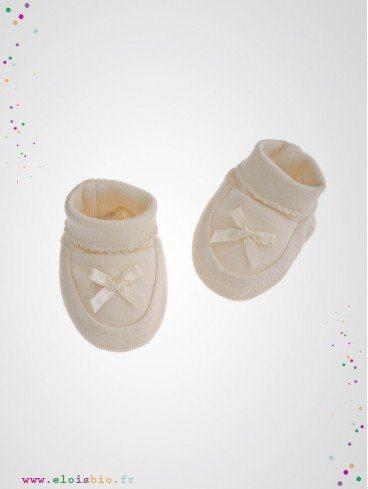 Chaussons naissance coton bio avec lacets en satin