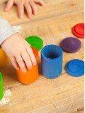 6 pots avec couvercles multicolores jeu enfant bois naturel