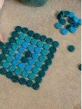 Mandala bleu jeu enfant bois naturel