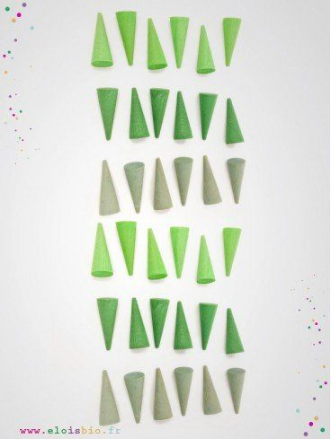 Mandala cônes vert jeu enfant bois naturel