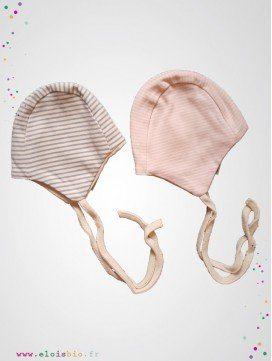 Bonnet bébé marinière coton bio