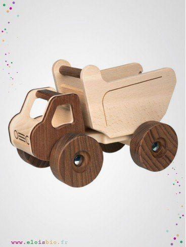 Camion benne jeu enfant en bois naturel