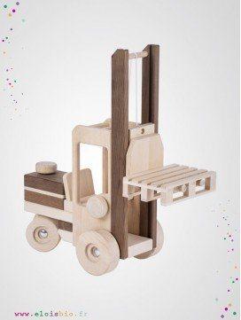 Chariot élévateur jouet en bois naturel