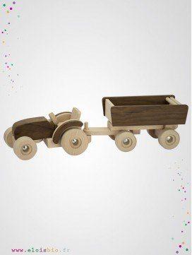 Tracteur avec remorque en bois naturel