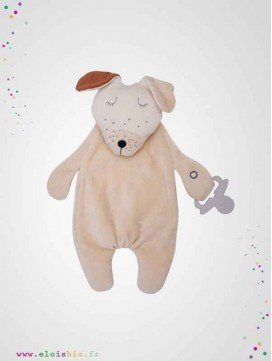 Doudou plat attache-tétine chien coton bio fabrication européenne