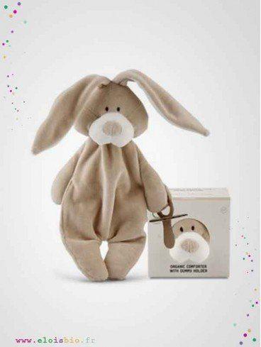 Doudou plat attache-tétine Lapin coton bio fabrication européenne