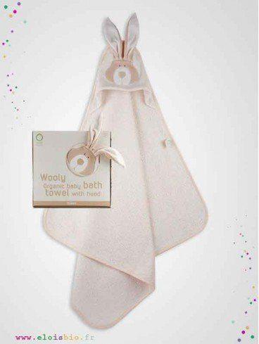 Serviette cape de bain bébé Lapin coton bio fabrication européenne