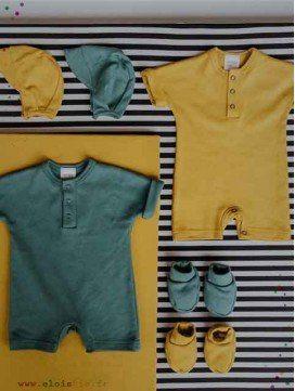 Combinaisons short bébé coton bio - 2 coloris