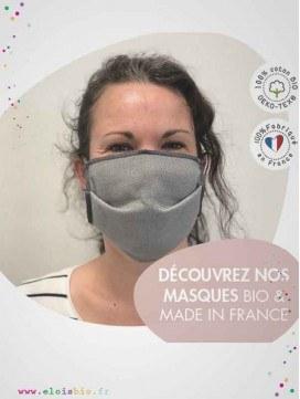 Masque en tissu lavable pour Adulte - Coton Bio