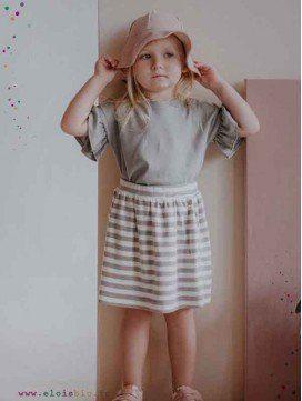 Jupe enfant à rayures en coton bio