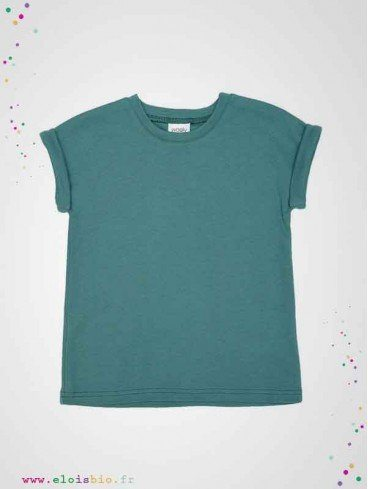 T-shirt enfant vert océan coton bio