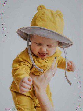 Chapeau oreilles ourson bébé coton bio - 2 coloris