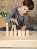 6 pots avec couvercles jeu enfant bois naturel