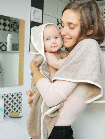 Serviette cape de bain bébé tablier france bambou et polaire France
