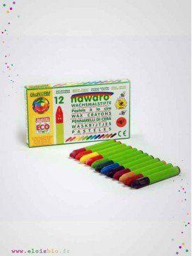 12 crayons pastels à la cire naturelle