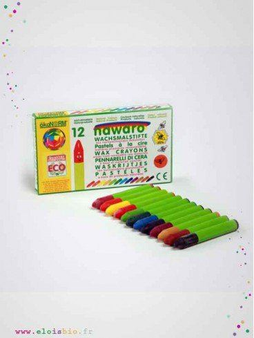 12 crayons pastels cire naturelle fabrication allemagne okonorm