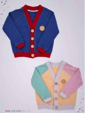 Cardigan enfant coton bio - Close Me - 2 coloris