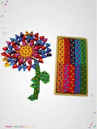 Triangles en bois colorés avec pierres brillantes - 100 pièces