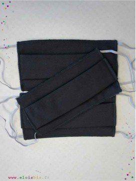 Lot de 3 masques de haute protection adulte protection - Anthracite - Coton Bio