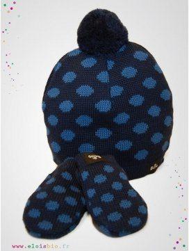 Ensemble bébé bonnet et moufles Marine à pois bleu