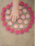 Mandala fleurs rose en bois 36 pièces