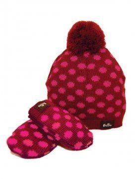 eloisbio-ensemble bonnet- moufle en laine bordeaux bellio