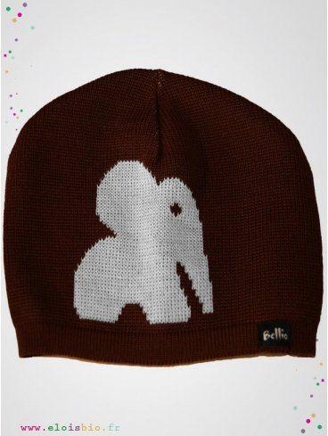 eloisbio-bonnet en laine ellie marron-blanc bellio