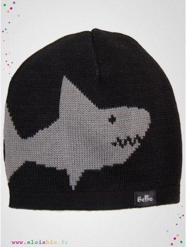 eloisbio-bonnet en laine sharky noir-gris bellio