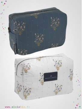 Trousses de toilette imprimé Madeleine, coton bio - 2 coloris