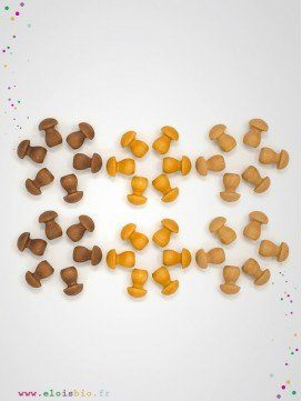 Mandala petits Champignons en bois - 36 pièces